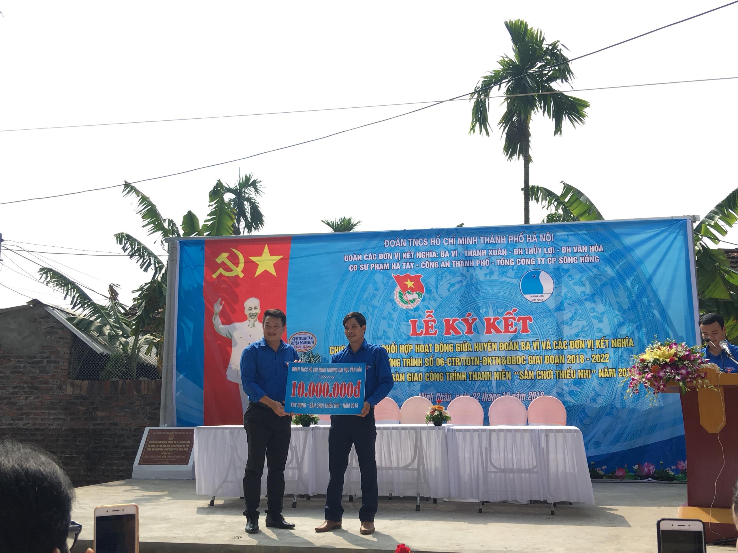 Đoàn Trường Đại học Văn hóa Hà Nội tham gia hoạt động kết nghĩa, hỗ trợ Huyện Đoàn Ba Vì