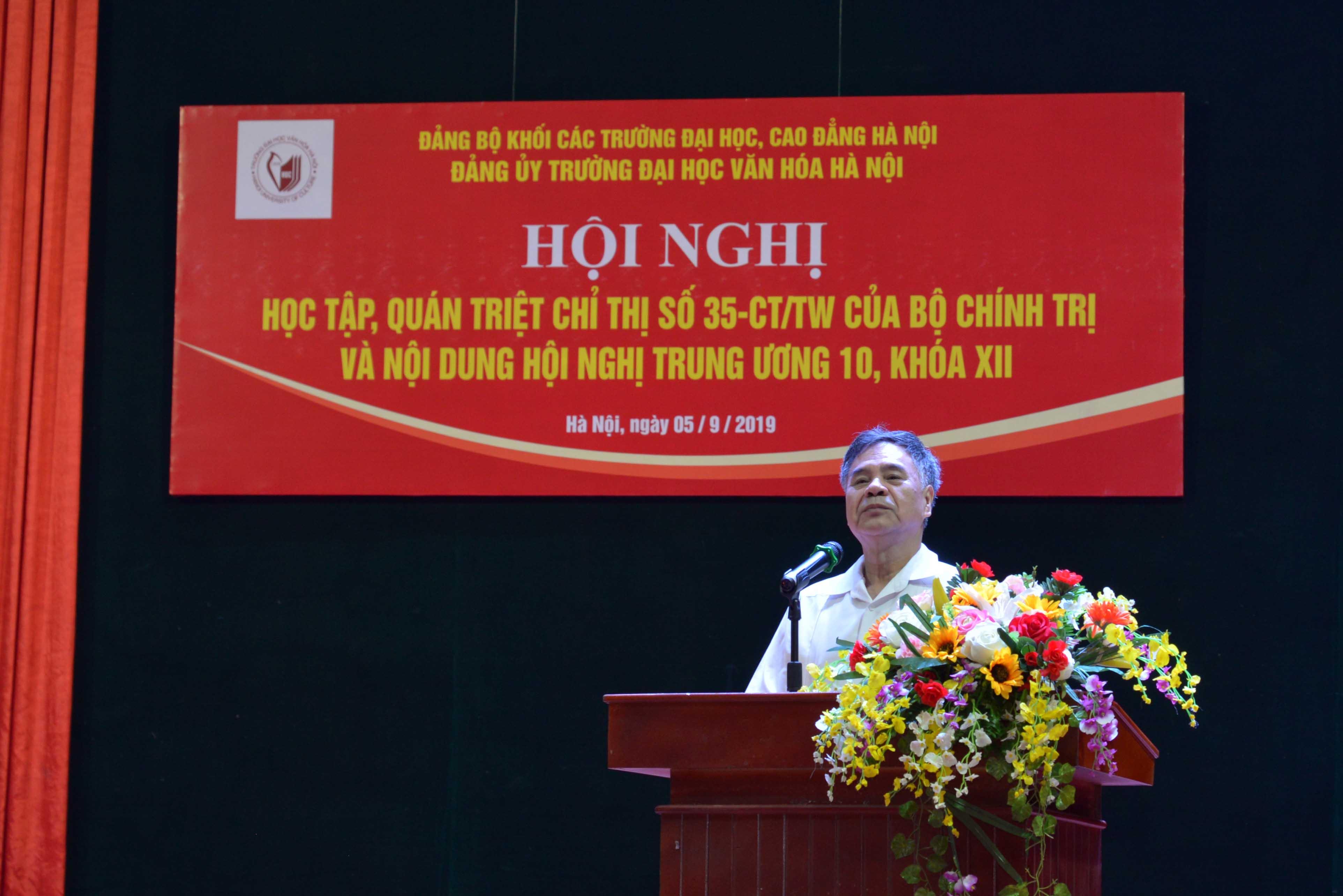 Trường Đại học Văn hóa Hà Nội tổ chức học tập, quán triệt Chỉ thị 35 của Bộ Chính trị và các nội dung Hội nghị Trung ương 10 (khóa XII)