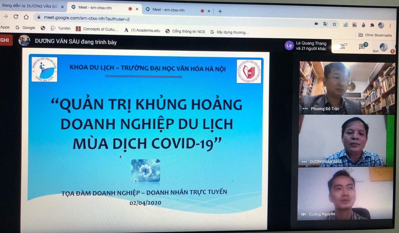 """Tọa đàm Doanh nghiệp - Doanh nhân trực tuyến: """"Quản trị khủng hoảng doanh nghiệp du lịch mùa dịch Covid-19"""""""
